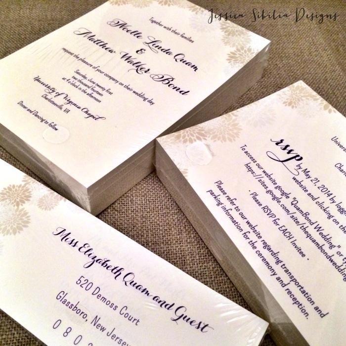 wedding, jessica sibila, i do, floral, graphic design, custom, suite, california, virginia, flower, navy, cream